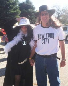 Mitchell Betsworth (left) and his dad, Troy, dressed as Yoko Ono and John Lennon for the 2015 Siouxland Polar Plunge.
